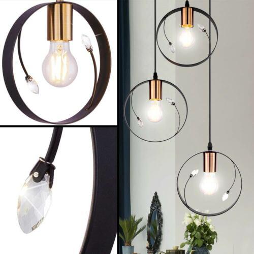 Vintage Decken Pendel Ring Lampe schwarz Gäste Zimmer Kristall Design Leuchte