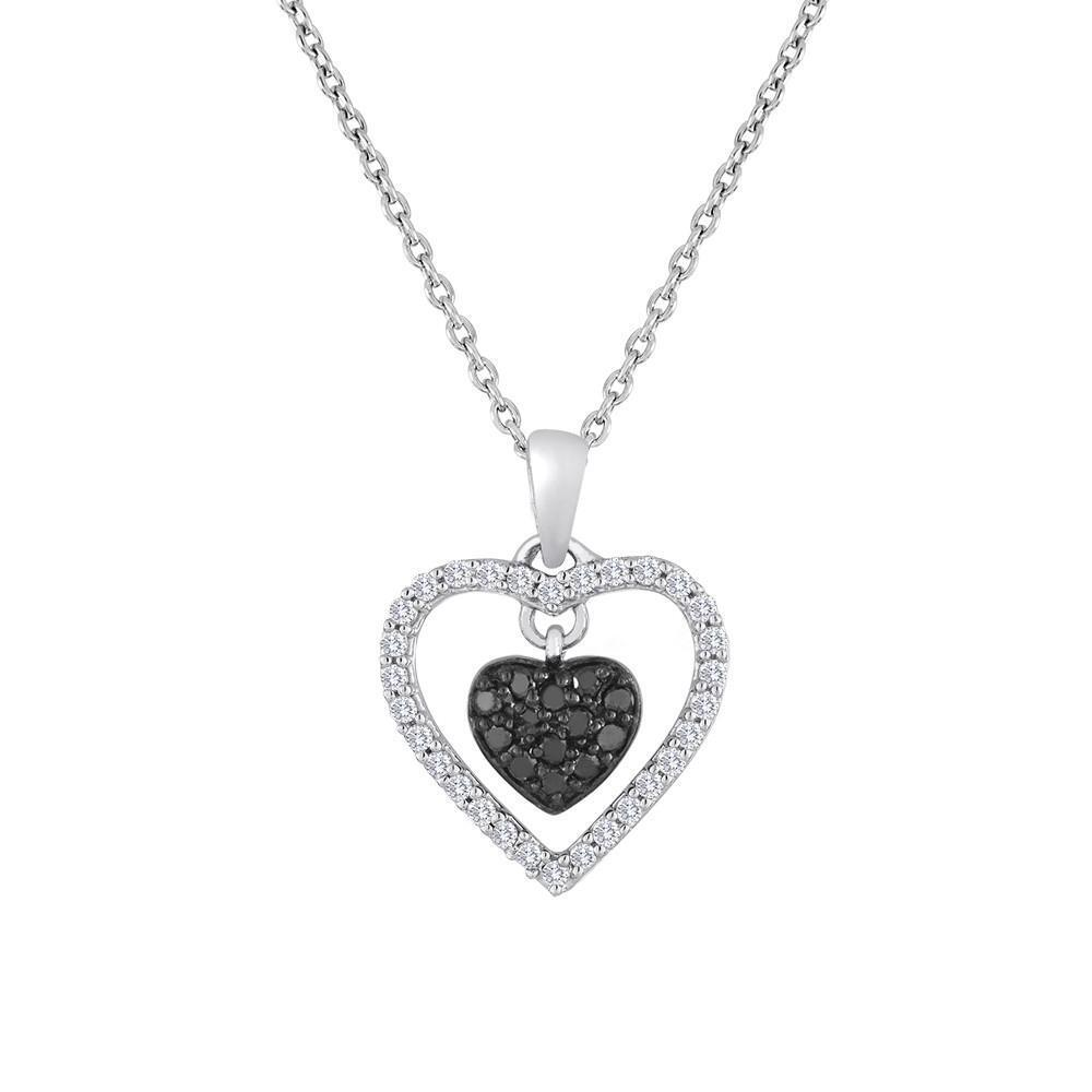 Floating Crystal Accented Heart Ruby Pendant