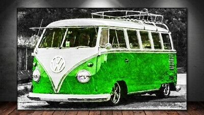 Bus Bulli Volkswagen Oldtimer Autos Abstraktes Bilder Leinwand Wandbild XXL 3062