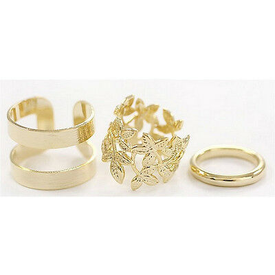 Noble 3pcs/set Gold/Silver Plated Leaf leaves Knuckle Finger Ring Party Jewelry