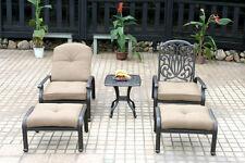Cast Aluminum Outdoor Conversation Elisabeth 5pc Set Patio Chaise Lounge Chairs