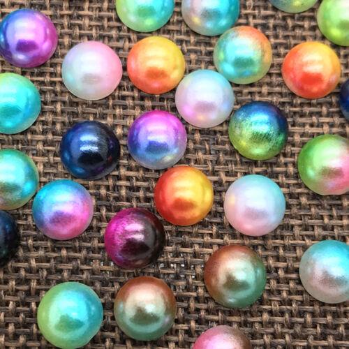 6mm 100pcs Half Round Bead Flat Back Pearl Scrapbooking Embellishment colour #16