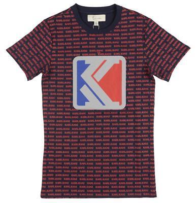 KARL KANI Original JUMP CHENILLE T-SHIRT Heather Grey Embroidered Mens 90s NWT