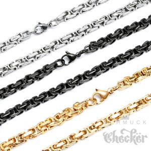 Edelstahl-Herren-Damen-Koenigskette-Byzantiner-Halskette-gold-silber-schwarz-duenn
