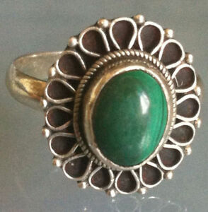 Traditional-Sterling-Silver-Handcrafted-Asian-Malachite-Stone-Ring-Size-O-Gift