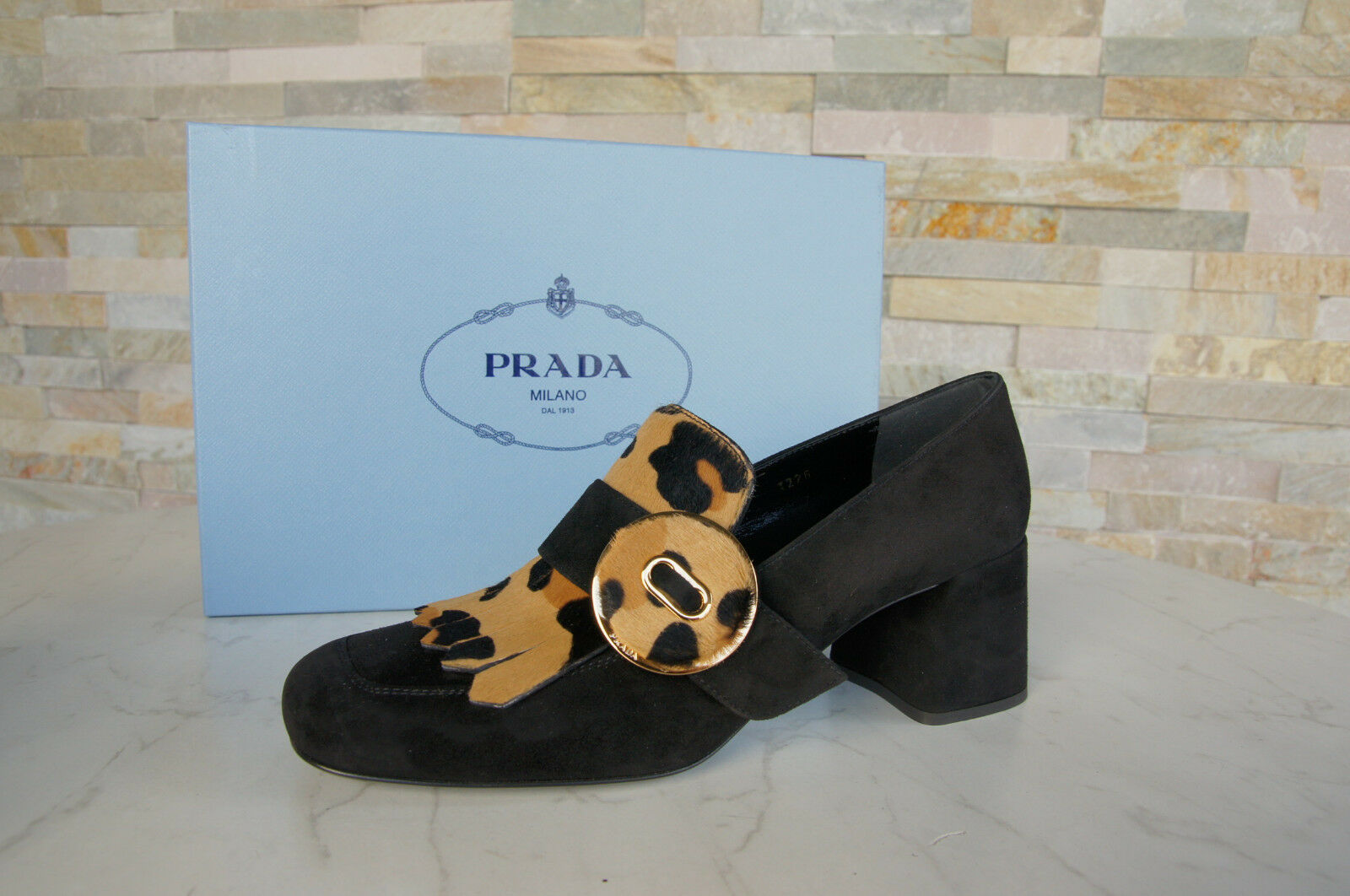 Luxury Prada 38,5 Pumps shoes 1D723H Calf Skin Leopard + Black New Formerly Rrp