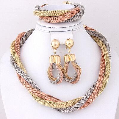 Dubai 18k Gold Plated Charming Necklace Romantic Wedding Bridal Jewelry Set