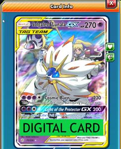 Solgaleo /& Lunala GX 75//236 Cosmic Eclipse PTCGO Online Digital Card
