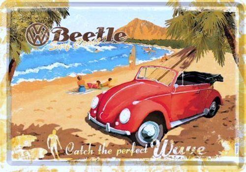 Nostalgic Art Blechpostkarte VW BEETLE STRAND BEACH PERFECT WAVE #
