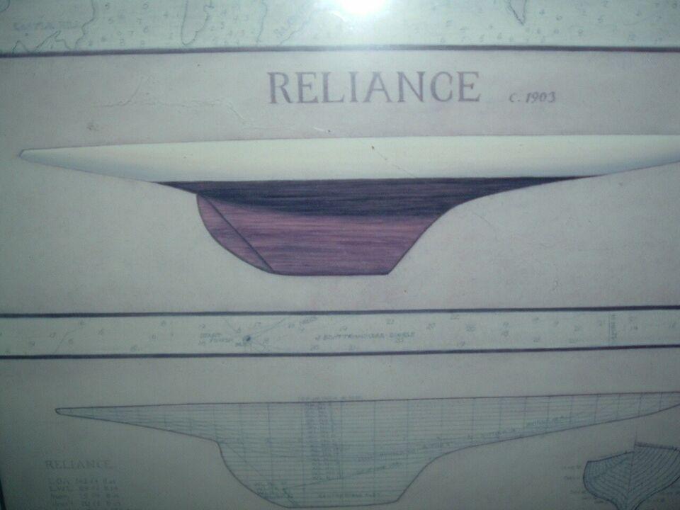 """Tryk/plakat i ramme af SKIBSMODEL """"Reliance 190..."""