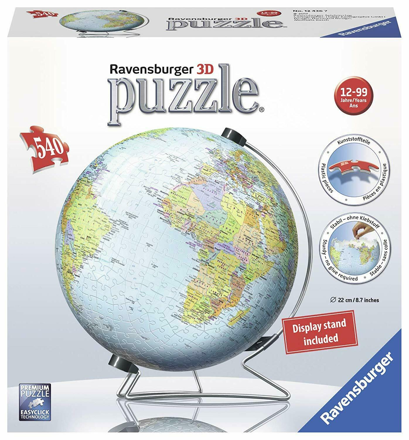 3D Globe Puzzle With Stand- 540 Piece Plastic Jigsaw Puzzle - Map of The World