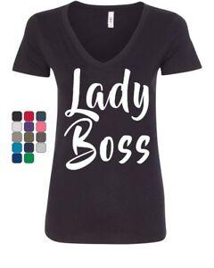 b6aae6ff Lady Boss Women's V-Neck T-Shirt Funny Women's Rights Glam Girl ...