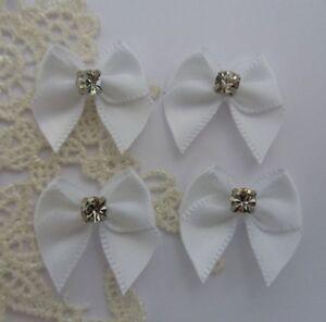 "W 7//8/"" Wedding White Satin Mini Ribbon Bows w//Rhinestone-30 pcs-R0063W"