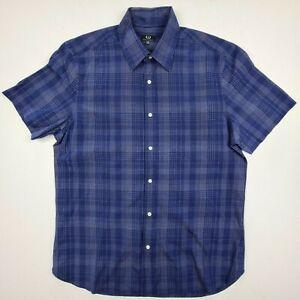 Sportscraft Men's Size M Short Sleeve Shirt Button Front Blue Collar - SE31