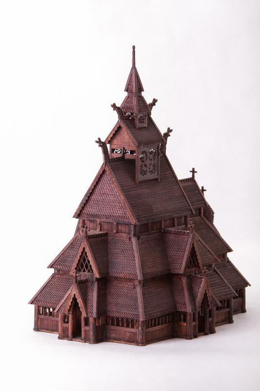 Dusek Norwegian stave church GOL 1 87 Scale D010 Model Kit