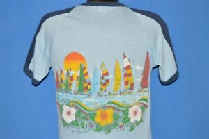 vintage-80s-COCOA-BEACH-FLORIDA-SUNSET-SAILBOAT-HIBISCUS-FLOWER-RINGER-t-shirt-S