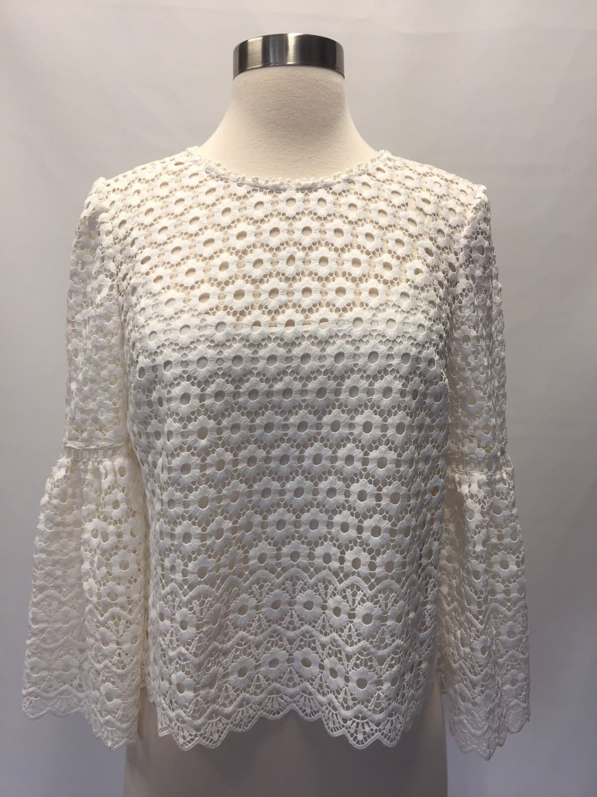NEW JCREW  Daisylace bell-sleeve top Größe 2 In Ivory G9911 Sold out