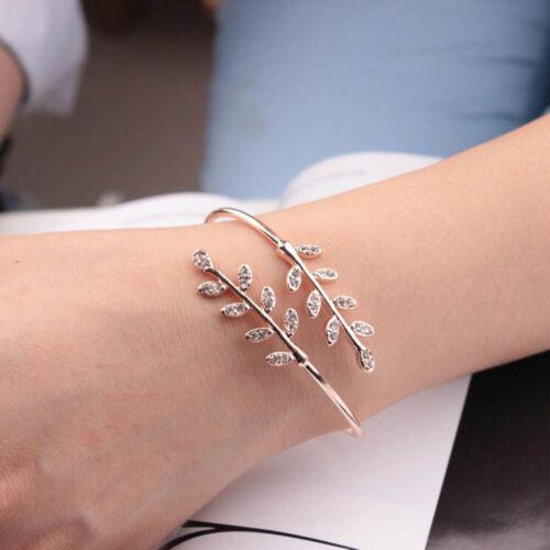 Women Charm Rhinestone Leaf Shape Bracelet Adjustable Opening Bangles Jewelry