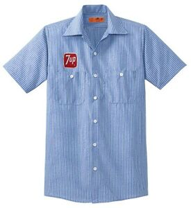 7 UP Custom Delivery Man WORK SHIRT w Vintage Embroidered Patch Soda Pop Cola bw