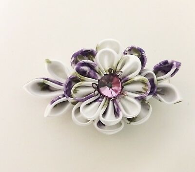 Japanese Kanzashi HairStick Made with Purple Colored Fabric /& Peach Color Tassle