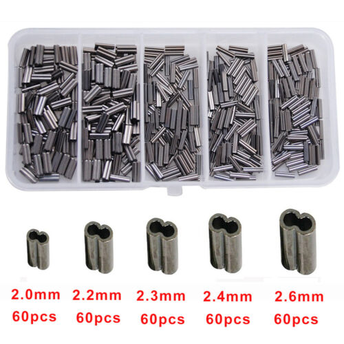 300pcs Double Barrel Fishing Crimping Sleeves Copper Tube Tackle Connector Kit