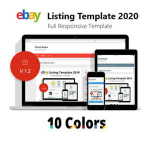 Ebay Template Responsive Listing Professional Auction Html Mobile 10 Colors Ebay