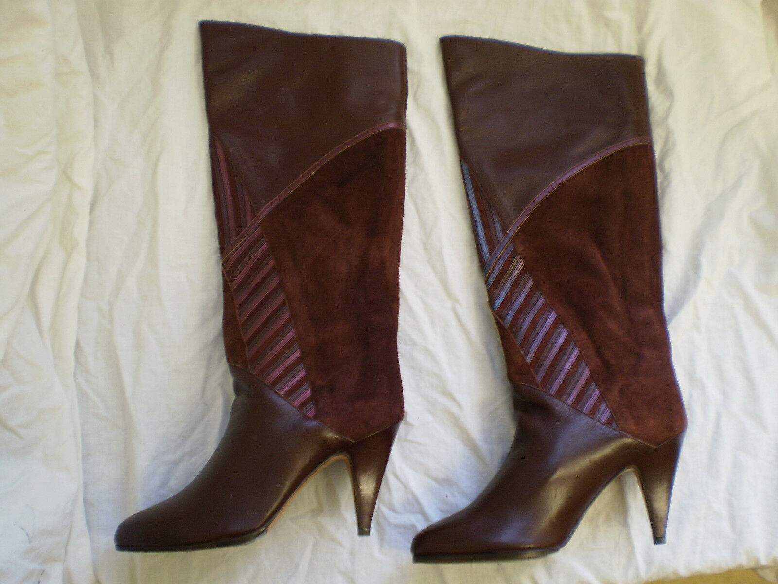 MEDIRA Knee High Boots Brown Leather suede Pull On Womens New Size
