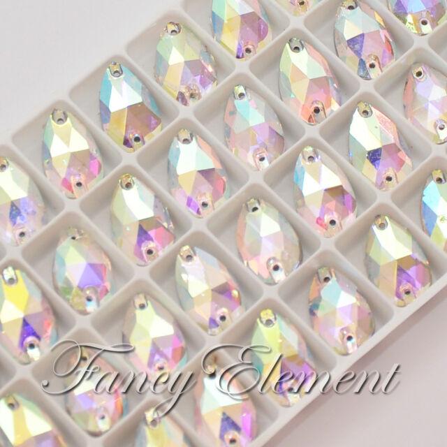 36pcs Glass Pear 3230 Clear AB 10.5x18mm Crystal Sew On Rhinestone Foil Flatback