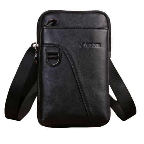 Men Business Leather Cell Phone Shoulder Crossbody Bag Hook Belt Waist Bag Purse