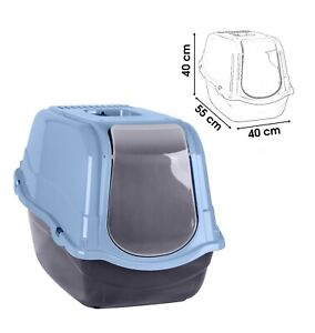 Blue-Portable-Hooded-Cat-Litter-Box-Covered-Tray-Hand-Carry-Travel-Pet-Toilet
