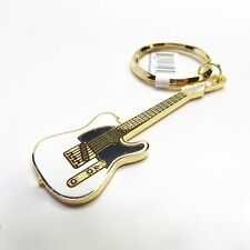 FENDER TELECASTER Electric Guitar Key Chain - 24K Gold & Whtie NWT - Music Gifts