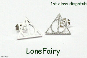 Silver Plated Harry Potter Deathly Hallows Stud Earrings Triangle Wizard