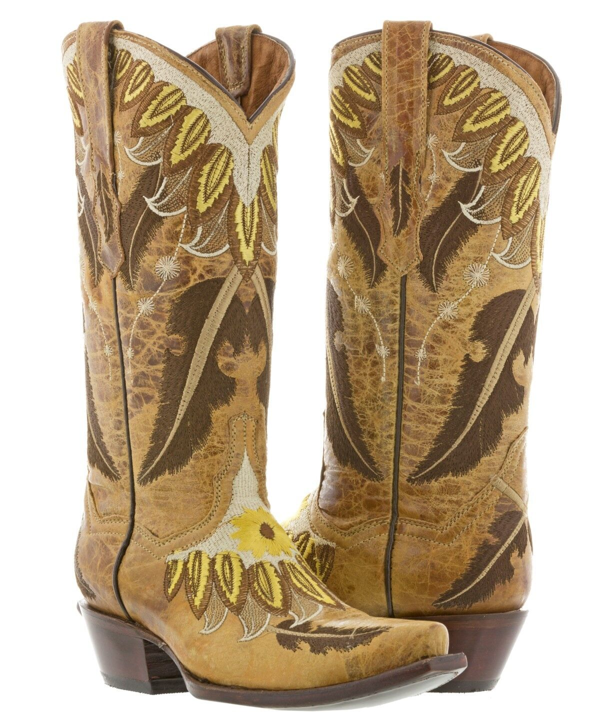 femmes Sand Tan Embroiderouge Feathers Cowboy bottes Western Wear Rodeo Snip Toe