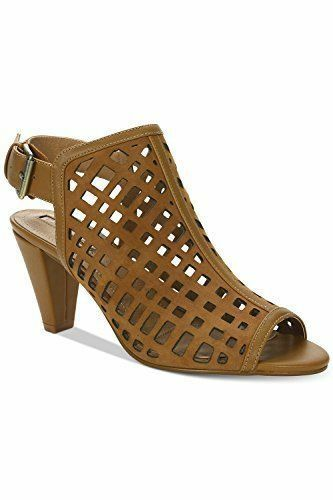 Tahari Women's Evalyn Leather Open Toe Casual Slingback Sandals Maple 6M