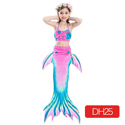 Mermaid Tails Fins Swim Bathing Halter Top Bikini Suit Sets Monofin for Girls