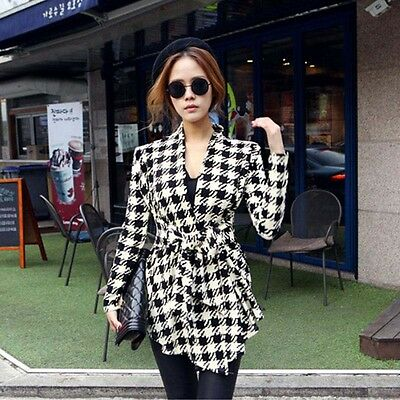 Korean Womens Houndstooth Pattern Thin Cardigan Coat Jacket Outwear Excellent