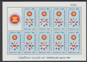 Laos Sc 1359j, Footnote MNH. 1995 Admission to ASEAN, Sheet of 9 + 9 Souv Sheets