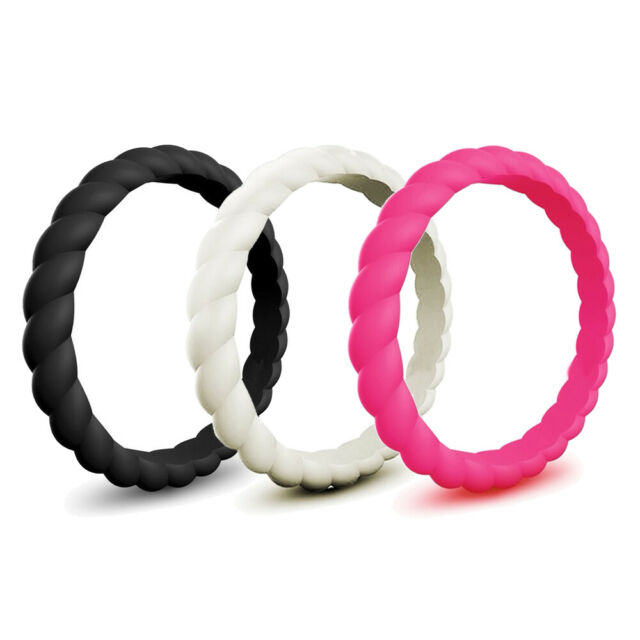 Silicone Ring Wedding Rubber Women Flexible Thin Stackable Engagement Band