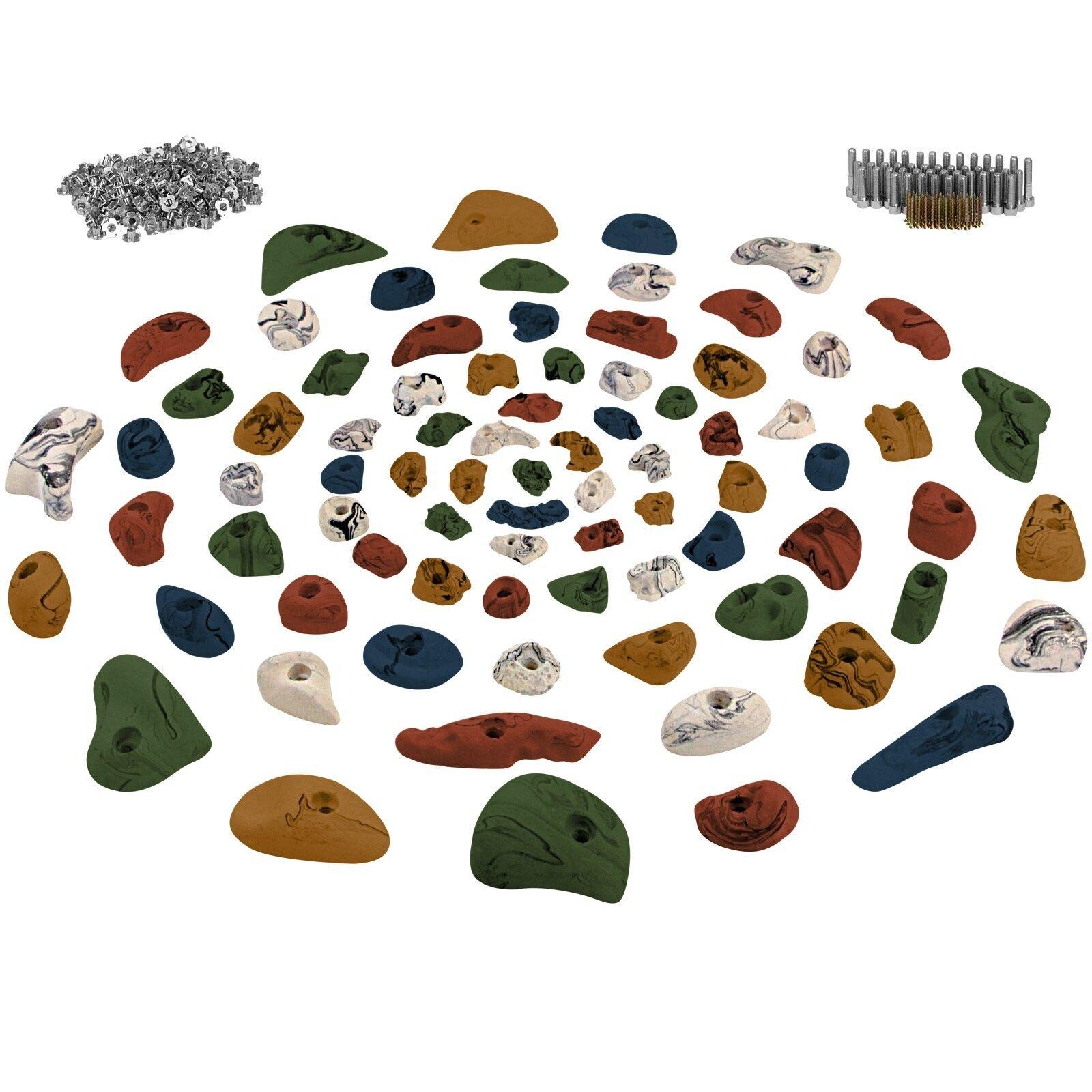 80 Klettergriffe Klettergriffe Klettergriffe Klettersteine inklusive Schrauben und 250 Einschlagmuttern 734e65
