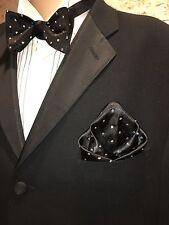 Bow Tie And Pocket Square Set Black Swarovski Crystal Polka Dot Hand Made