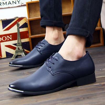 New fashion mens dress formal lace up pointy toe wedding casual shoes oxford