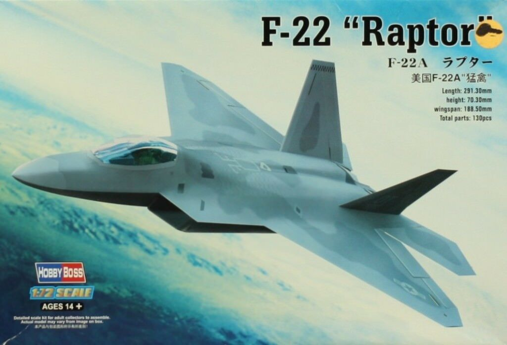 Trumpeter 80210 American F22 Raptor Fighter Warplane 1 72 Scale Model Airplane