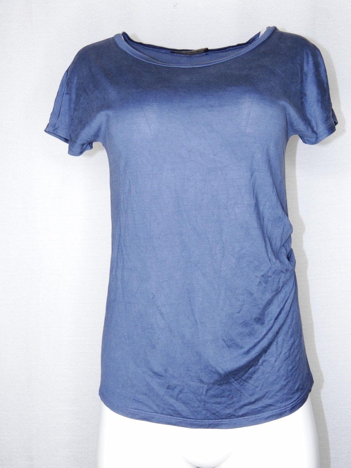 WEEKEND MaxMara Small Blau Ruched Silk Short Sleeve Tee