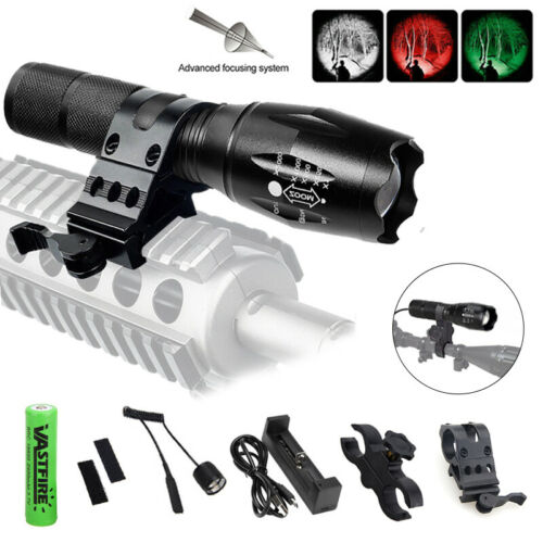 Tactical LED Hunting Light Flashlight 5Modes with Weaver Picatinny Scope Rail