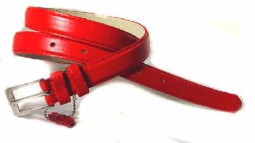 """#WN250 .75/"""" WIDE RED SKINNY LEATHER FASHION BELT FOR WOMEN"""