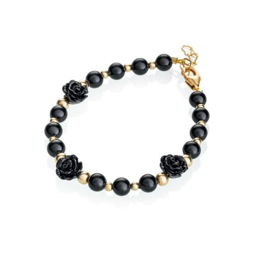 Black Flower with Gold Filled Beaded Baby and Child Bracelet