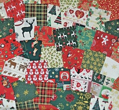 "4/"" 100 PIECE CHRISTMAS FABRIC SQUARES SCRAPS SAMPLES PACK 10CM FESTIVE MIX"