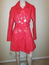 YANSI FUGEL Hot Pink Size M Button Down Belted Raincoat Jacket