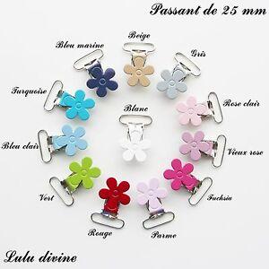 Attache tétine sucette doudou passant de 25 mm Clip bretelle 2 Pinces Fleur