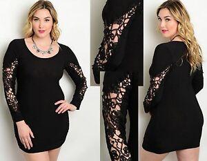 Women black applique lace long sleeve bodycon party mini dress plus